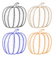 pumpkin outline colored icon vector image