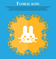 Rabbit icon sign Floral flat design on a blue vector image vector image