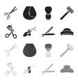 scissors brush razor and other equipment vector image vector image