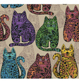 Seamless pattern with funny ornamental cats vector image