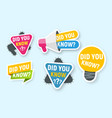 set icons did you know isolated badges vector image