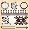 set of vintage floral pattern elements vector image vector image