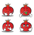 set pomegranate cartoon character style collection vector image