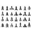 set rockets icons on white background vector image vector image