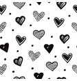 sketch hearts seamless pattern romantic doodle vector image