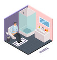 stomach upset isometric composition vector image vector image