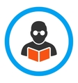 Student Reading Book Rounded Icon vector image vector image