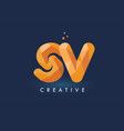sv letter with origami triangles logo creative vector image vector image