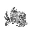 treasure chest on bottom ocean sketch vector image