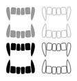 vampires teeths icon set grey black color vector image vector image