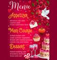 wedding day menu main courses desserts appetizer vector image