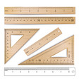 wooden rulers set metric imperial vector image