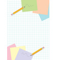 yellow pencils scribbles and post-it papers on vector image vector image