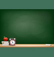 background with blackboard books alarm clock vector image vector image