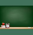 background with blackboard books alarm clock vector image