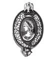 brooch pin diamonds on blue enamel vintage vector image vector image
