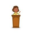 businesswoman character speak on podium vector image vector image