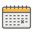 calendar filled outline icon time and date vector image vector image