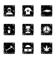 Cannabis icons set grunge style vector image vector image