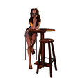 cartoon girl with glasses sitting on a bar stool vector image vector image