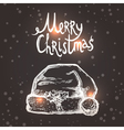 Christmas Card With Sketch Santa Hat vector image