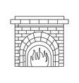 christmas chimney fire brick decoration outline vector image vector image