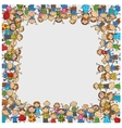Crowd of children with a box shaped empty space vector image vector image