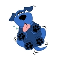 cute blue dog cartoon vector image vector image