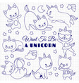 cute cats like unicorn set cartoon kittens vector image vector image