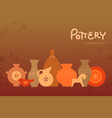 different pottery vases in horizontal view vector image vector image