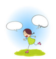 doodle girl with speech balloon vector image vector image