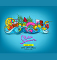 doodles hand-drawn on a summer theme i vector image vector image