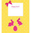 easter card with egg rabbits and seamless pattern vector image