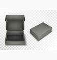 gray blank cardboard box with flip top realistic vector image vector image