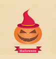 halloween pumpkin with witch hat flat style icon vector image vector image