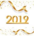 happy new year 2019 golden 3d numbers with vector image