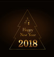 happy new year gold text in christmas tree vector image
