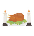happy thanksgiving day baked turkey burning vector image