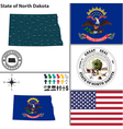 map north dakota with seal vector image vector image