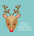 merry christmas and happy new year cute deer red vector image