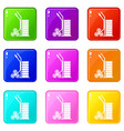modern trolley icons set 9 color collection vector image vector image