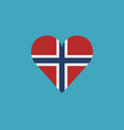 norway flag icon in a heart shape in flat design vector image