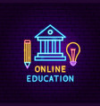 online education neon label vector image vector image