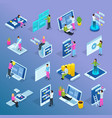 people interfaces isometric set vector image vector image