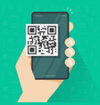 qr code icon on mobile phone or smartphone screen vector image vector image