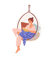 relaxed domestic girl sitting in comfy hanging vector image