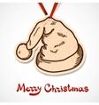 Santas hat Paper label on ribbon vector image vector image