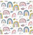 seamless pattern with rainbow and flying vector image