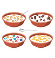 set bowls with breakfast cereal in milk vector image