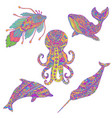 set colorful whale octopus dolphin narwhal vector image